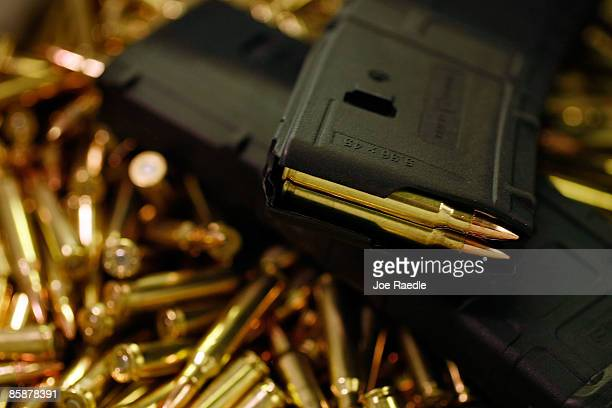 A magazine with newly manufactured 556mm cartridges is seen at Stone Hart manufacturing Co April 9 2009 in Miami Florida Ammunition suppliers...