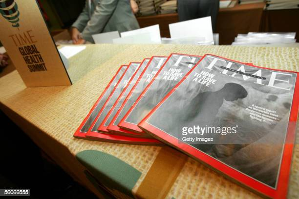 Magazine's cover story on global health is fanned out on a table at the registration center at Lincoln Center on November 1 2005 in New York City...