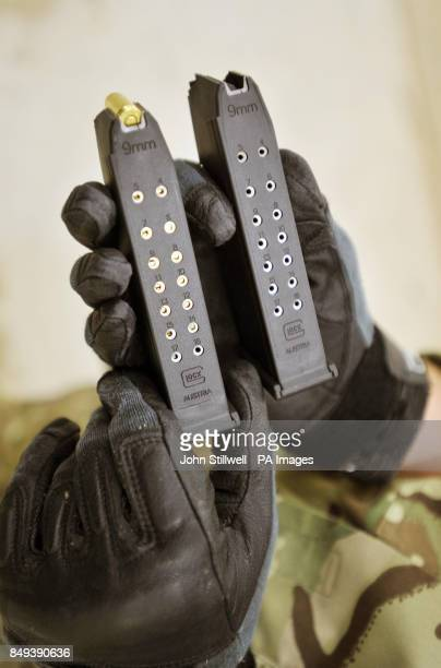 Magazines for a Glock 17 9mm pistol on an indoor shooting range in Woolwich Barracks southeast London as personnel from all three services are to...