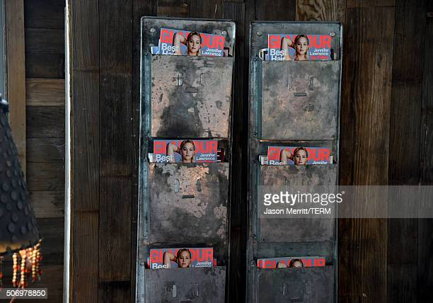 Magazines on display at Glamour's Women Rewriting Hollywood Lunch at Sundance Hosted By Lena Dunham Jenni Konner and Cindi Leive on January 26 2016...