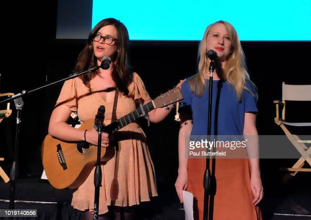 Magazing editor Allie Goertz and guest perform onstage at Hanging Out With Paul Scheer Disney Edition during the 'That's From Disneyland' exhibit at...