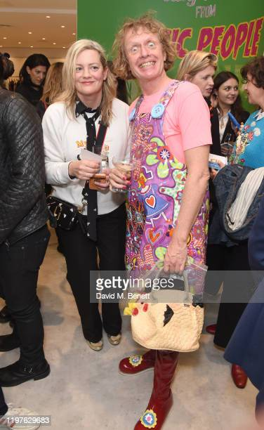 Magda Archer and Grayson Perry attend the launch of the Magda Archer x Marc Jacobs Collaboration at Harvey Nichols on January 30 2020 in London...