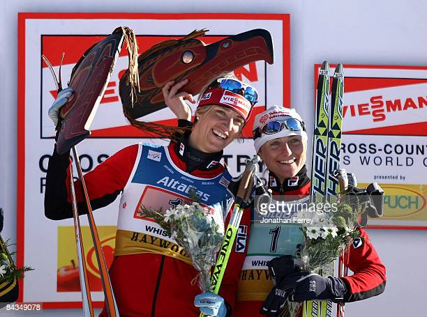 Magda Genuin and Arianna Follis of Italy cellebrate their victory in the Women's 6 x 13K F Team Sprint during day 4 of the FIS Cross Country World...