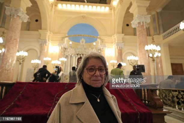 Magda Haroun one of the leaders of the Egyptian Jewish community in the capital Cairo visits the newly renovated Eliyahu Hanavi synagogue in the...