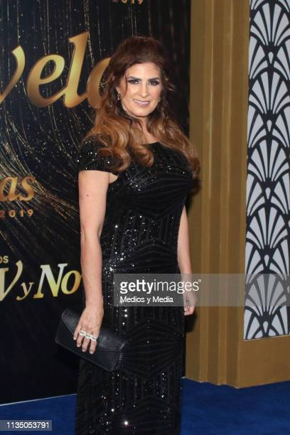 Magda Karina pose on the red carpet during the 'TV y Novelas' Awards 2019 at Campo Marte on March 10 2019 in Mexico City Mexico