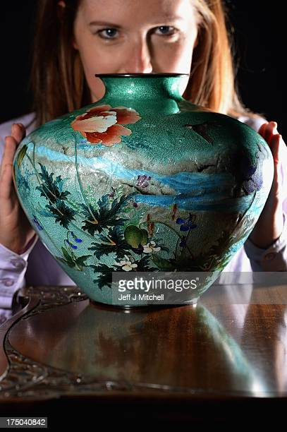 Magda Ketterer East Asian Works of Art Specialist views a unique Japanese vase made by renowned Japanese artist Kumeno Teitaro sold for GBP £17000 in...