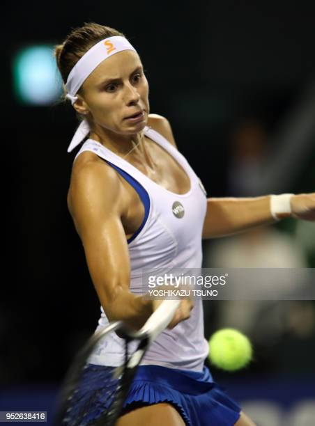 Magda Linette during the quarter finals of the Toray Pan Pacific Open tennis championships in Tokyo on September 23 2016 Wozniacki defeated Linette...
