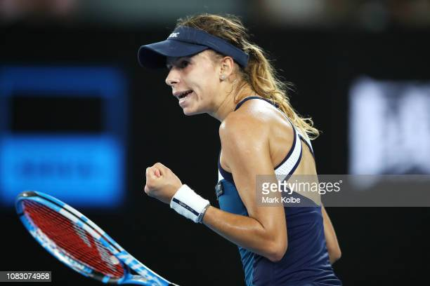 Magda Linette of Poland celebrates a point in her match against Naomi Osaka of Japan during day two of the 2019 Australian Open at Melbourne Park on...