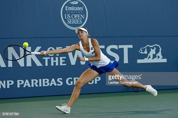 Magda Linette of Poland competes against Venus Williams of the United States during day three of the Bank of the West Classic at the Stanford...