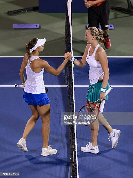Magda Linette of Poland congratulates Petra Kvitova of Czech Republic on her 61 62 victory during day one of the Rogers Cup at Uniprix Stadium on...