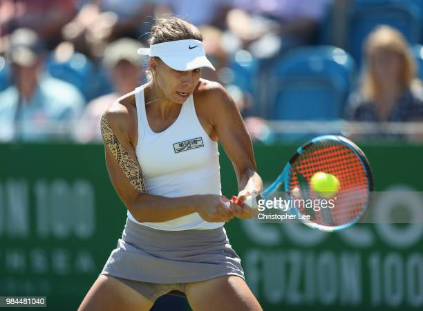 Magda Linette of Poland in action as she beats Petra Martic of Croatia in their Round One match during Day One of the Fuzion 100 Southsea Trophy at...