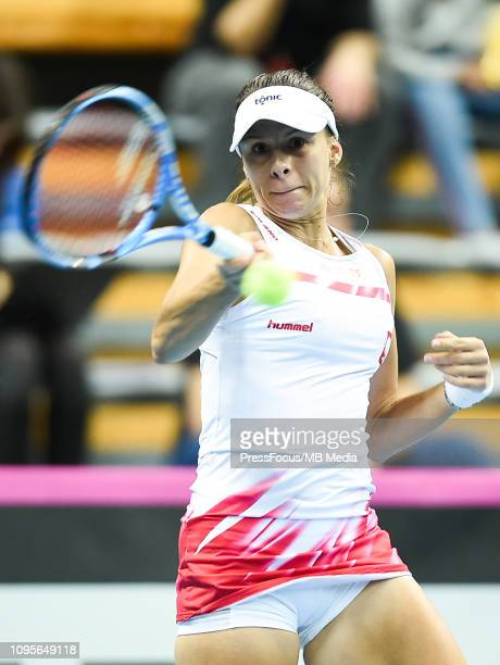 Magda Linette of Poland in action during her match against Karen Barritza of Denmark during the Fed Cup Europe and Africa Zone Group I match between...