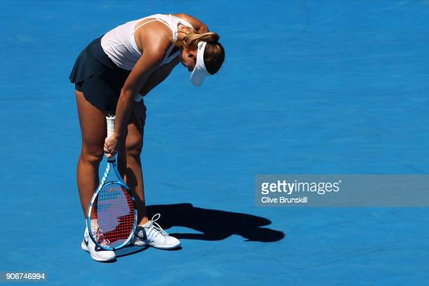 Magda Linette of Poland looks dejected in her third round match against Denisa Allertova of the Czech Republic on day five of the 2018 Australian...