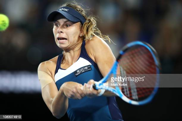 Magda Linette of Poland plays a backhand in her match against Naomi Osaka of Japan during day two of the 2019 Australian Open at Melbourne Park on...