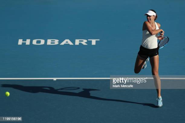 Magda Linette of Poland plays a forehand during her first round singles match against Svetlana Kuznetsova of Russia during day three of the 2020...