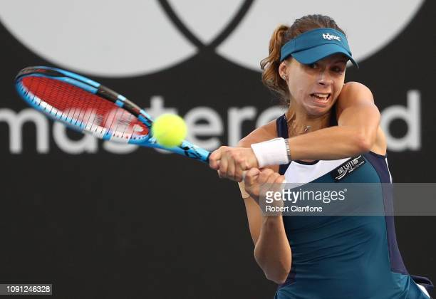 Magda Linette of Poland plays a shot during her singles match against Maria Sakkari of Greece during day four of the 2019 Hobart International at...