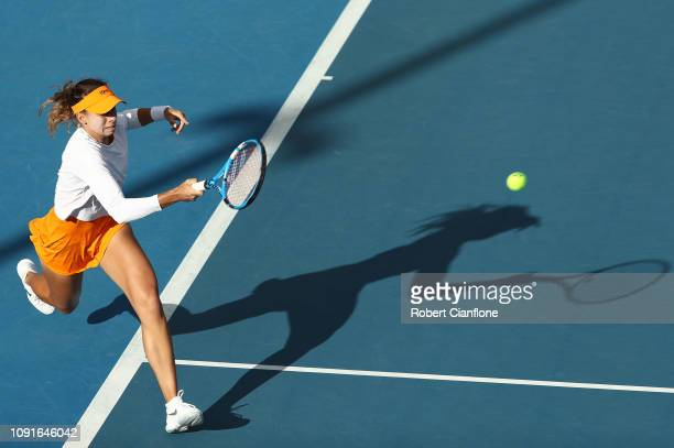Magda Linette of Poland plays a shot during her singles match against Greet Minnen of Belgium during day five of the 2019 Hobart International at...