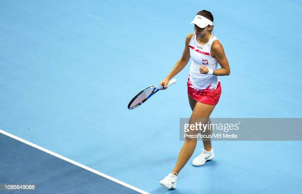 Magda Linette of Poland reacts during her match against Karen Barritza of Denmark during the Fed Cup Europe and Africa Zone Group I match between...