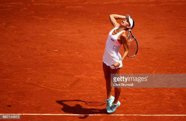 Magda Linette of Poland serves during the ladies singles third round match against Elina Svitolina of Ukraine on day eight of the 2017 French Open at...