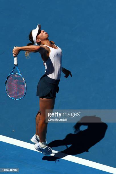 Magda Linette of Poland serves in her third round match against Denisa Allertova of the Czech Republic on day five of the 2018 Australian Open at...