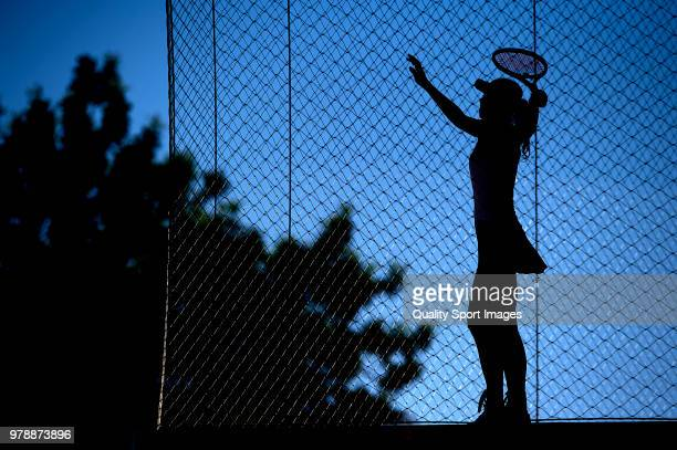 Magda Linette of Poland training during day two of the Mallorca Open at Country Club Santa Ponsa on June 19 2018 in Mallorca Spain