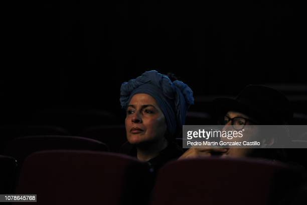 Magda Macle Ximena Cuevas watching documentary during the screening of Jorge Dalton's film 'Eliseo Lichi Diego' at Cosmopolitan Film on December 6...