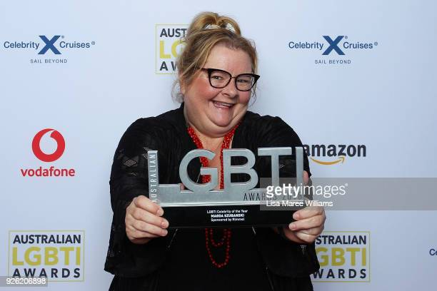 Magda Szubanski poses with the LGBTI Celebrity Award in the media room during the Australian LGBTI Awards at The Star on March 2 2018 in Sydney...