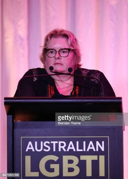 Magda Szubanski speaks at the Australian LGBTI Awards 2017 at Sydney Opera House on March 2 2017 in Sydney Australia