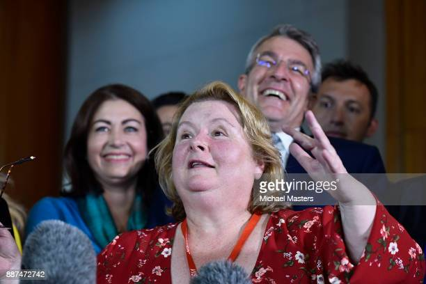 Magda Szubanski speaks to the media and celebrates the passing of the marriage equality bill on December 7 2017 in Canberra Australia The historic...