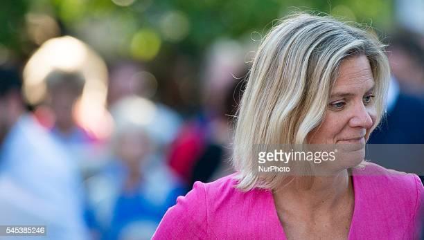 Magdalena Andersson Sweden's Finance Minister attends Prime Minister Stefan Löfven's speech at Almedalen Week in Visby on July 5 2016