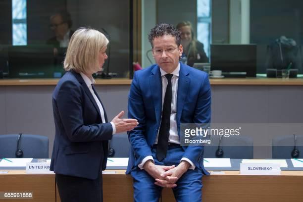 Magdalena Andersson Sweden's finance minister left speaks with Jeroen Dijsselbloem Dutch finance minister and head of the group of euroarea finance...