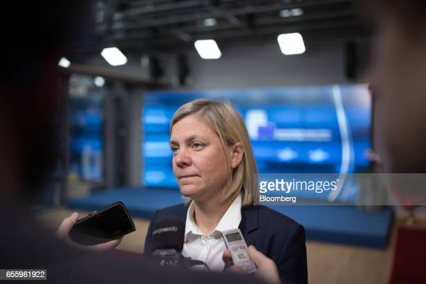 Magdalena Andersson Sweden's finance minister speaks to reporters ahead of an Ecofin meeting of finance ministers in Brussels Belgium on Tuesday...
