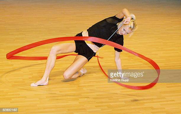 Magdalena Breszka of Germany competes with a ribbon during the International German Gymnastics Festival on May 16 2005 in BerlinGermany