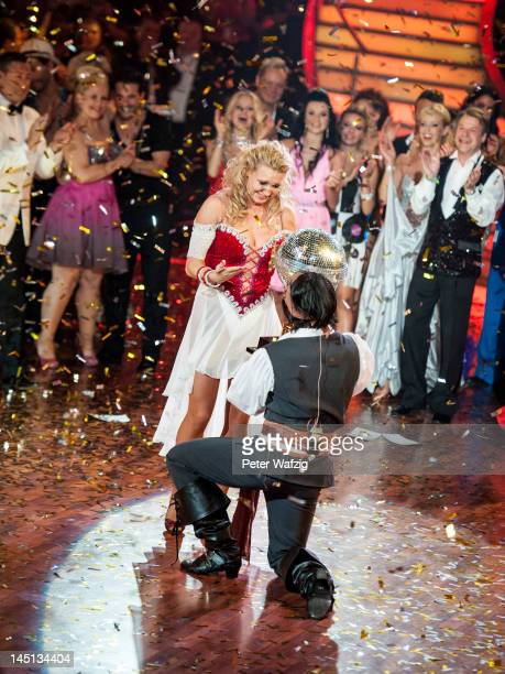 Magdalena Brzeska and Erich Klann celebrate after winning the 2012 season of 'Let's Dance'TVShow at Coloneum on May 23 2012 in Cologne Germany