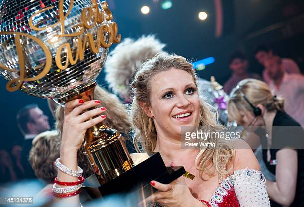 Magdalena Brzeska celebrates after winning the 2012 season of 'Let's Dance'TVShow at Coloneum on May 23 2012 in Cologne Germany