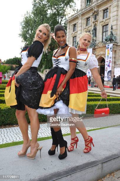 Magdalena Brzeska Marie Amiere and guest attend the Women's World Cup Night as part of the Digital Life Design women conference at Bavarian National...