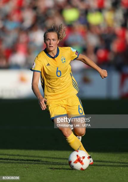 Magdalena Ericsson of Sweden in action during the UEFA Women's Euro 2017 Group B match between Sweden and Russia at Stadion De Adelaarshorst on July...
