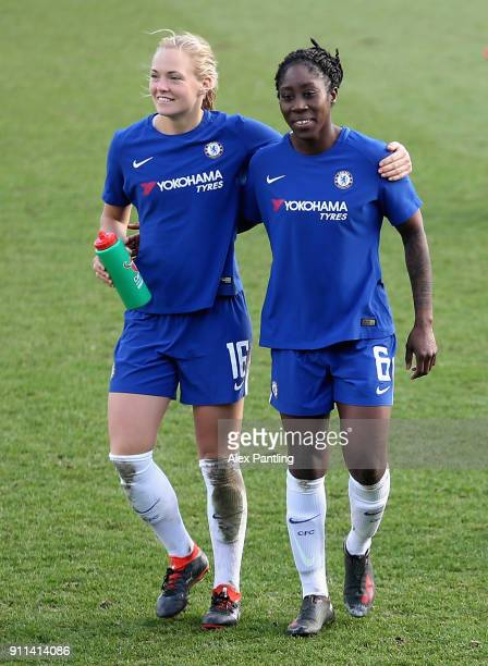 Magdalena Eriksson and Anita Asante of Chelsea celebrate victory during the WSL match between Chelsea Ladies and Everton Ladies at The Cherry Red...