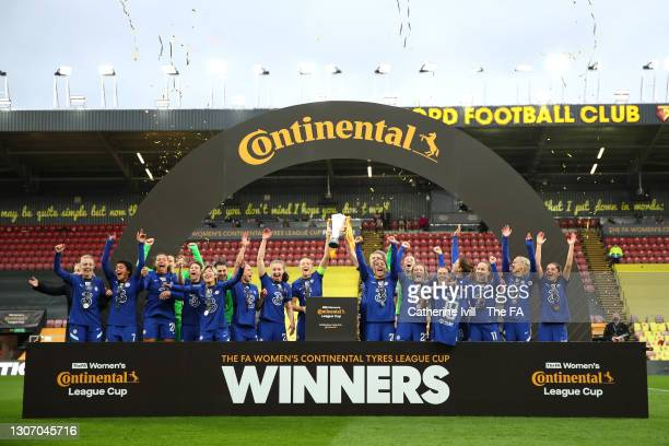 Magdalena Eriksson and Millie Bright of Chelsea celebrate with the FA Women's Continental Tyres League Cup Trophy after the FA Women's Continental...
