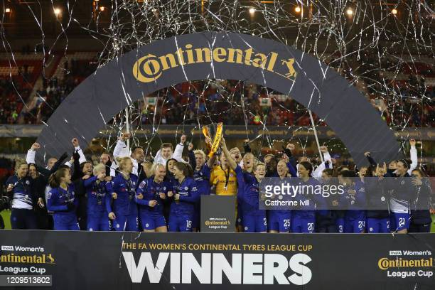 Magdalena Eriksson and Millie Bright of Chelsea celebrate with the trophy following the FA Women's Continental League Cup Final between Chelsea FC...