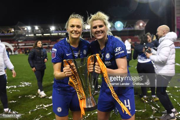 Magdalena Eriksson of Chelsea and Millie Bright of Chelsea with the cup during the FA Women's Continental League Cup Final Chelsea FC Women and...