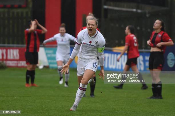 Magdalena Eriksson of Chelsea celebrates after scoring her team's second goal during the FA Women's Continental League Cup Group D match between...