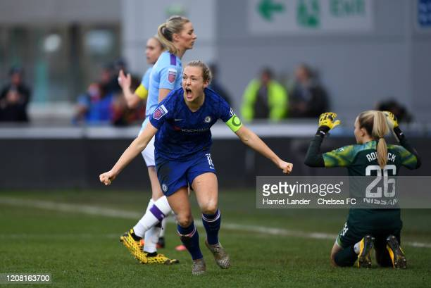 Magdalena Eriksson of Chelsea celebrates after scoring her team's second goal during the Barclays FA Women's Super League match between Manchester...