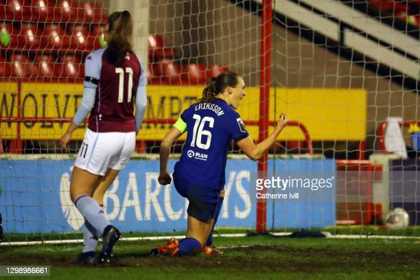 Magdalena Eriksson of Chelsea celebrates after scoring their side's fourth goal during the Barclays FA Women's Super League match between Aston Villa...