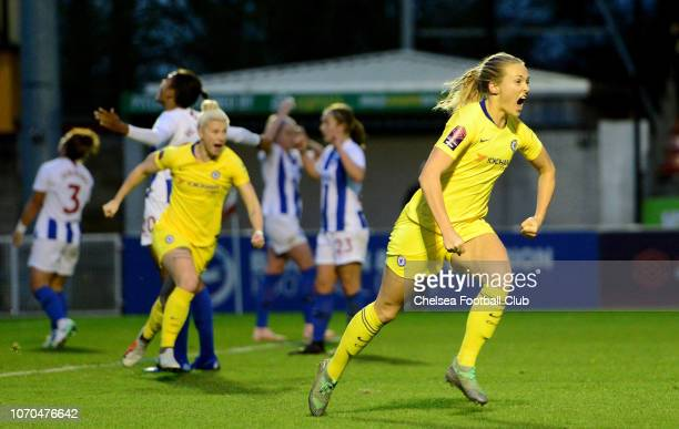 Magdalena Eriksson of Chelsea celebrates after she scores to put her side 10 up during a WSL match between Brighton and Hove Albion Women and Chelsea...