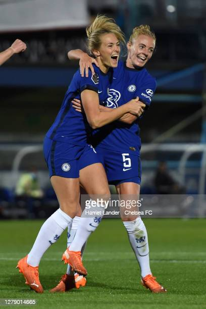 Magdalena Eriksson of Chelsea celebrates with teammate Sophie Ingle after scoring her team's first goal during the FA Women's Continental League Cup...