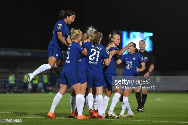 Magdalena Eriksson of Chelsea celebrates with teammates after scoring her team's first goal during the FA Women's Continental League Cup match...
