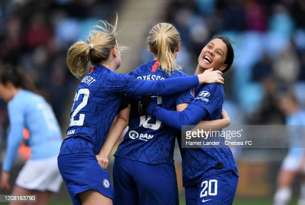 Magdalena Eriksson of Chelsea celebrates with teammates Erin Cuthbert of Chelsea and Sam Kerr of Chelsea after scoring her team's second goal during...
