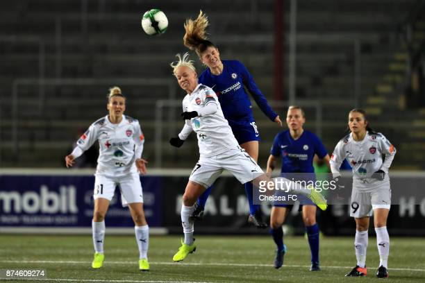 Magdalena Eriksson of Chelsea FC and Caroline Seger of FC Rosengard during the UEFA Women's Champions League between Rosengard and Chelsea Ladies at...