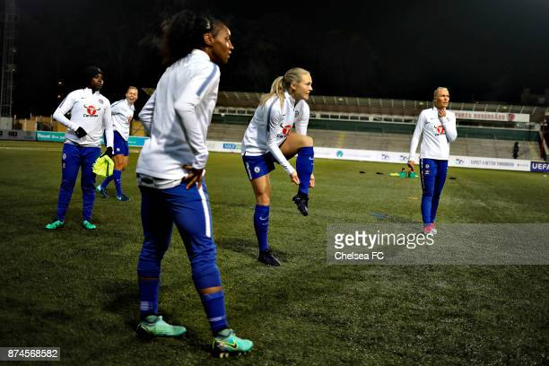 Magdalena Eriksson of Chelsea FC warms up prior to the UEFA Women's Champions League between Rosengard and Chelsea Ladies at Malmo Idrottsplats on...